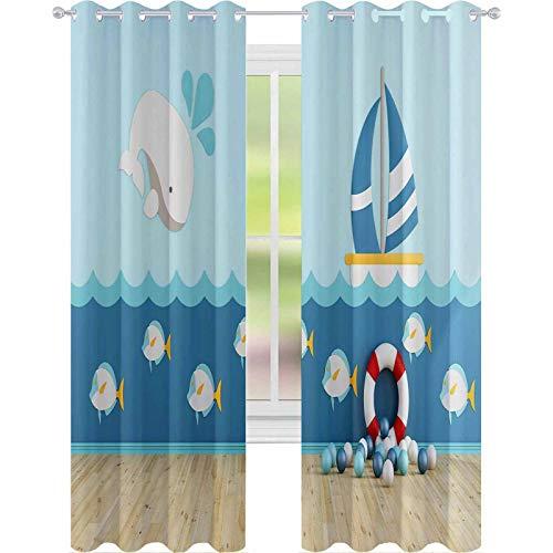 YUAZHOQI cortinas opacas para oscurecimiento de habitación en estilo marino sin muebles d representación de 132 x 274 cm cortinas de ventana para sala de estar