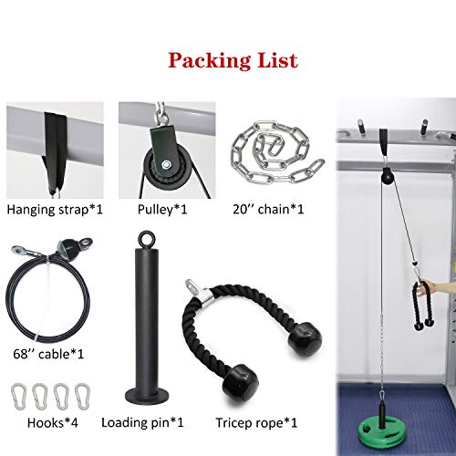 Product Image 6: SYL Fitness LAT Pulldown Cable Pulley System Adjustable Length with Chain Solid Loading Pin for DIY Home Garage Gym (Black: for Olympic Plates)