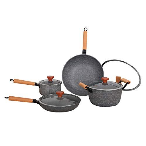 N / A Set Antiadherente,Utensilios de Cocina antiadherentes de Humo no graso de Cuatro Piezas, Juego de ollas de Regalo de Cocina doméstica Universal para Cocina de inducción-4 Piezas