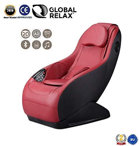 GURU® Sillón de masaje y relax - Rojo (modelo 2020) - 3 modos masaje - Sonido envolvente shiatsu 2D - Sillon masajeador con sistema Bluetooth y USB - Garantía oficial 2 Años