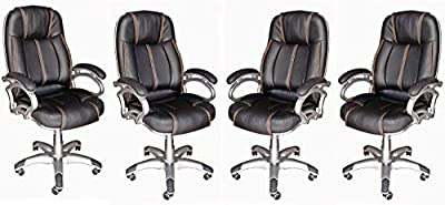 Daintree TimberTaste 4 Pcs of Lilly Black Directors, Executive, Boss, Conference high Back Office Chair (Set of 4)