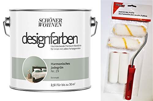 Schöner Wohnen designfarben feinmatte Wandfarbe für innen 2,5 Liter mit go/on Rollen-Set 5-tlg (Nr 29 Harmonisches Jadegrün)