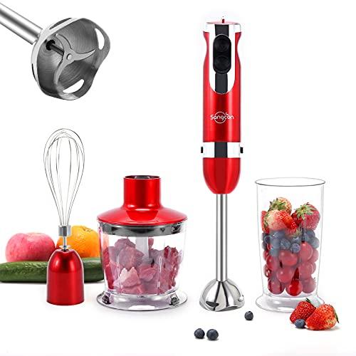 Sangcon 4 IN 1 Pürierstab Stab Mixer Elektrische Stabmixer Set Eiswürfel Stab-Standmixer Gemüse Manueller und Automatischer Mehrzweck-Küchenmischer BPA-freier Stabmixer für Saft, Fleisch, Eier, Nüsse