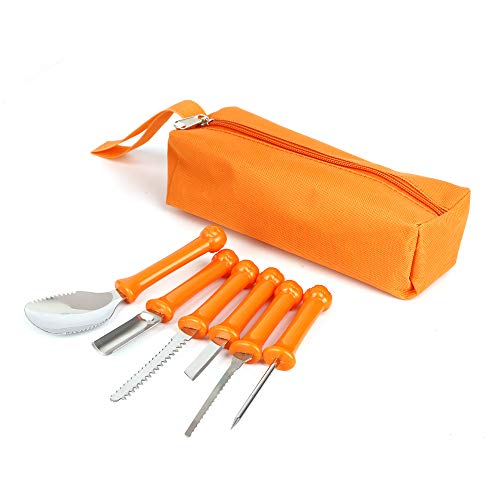 6 Stück Professionelle Halloween-Kürbis-Schnitz-Kits DIY-Kürbis-Lichtschnitz-Werkzeugset Obst-Schnitz-Kits mit Tragbarer Tasche