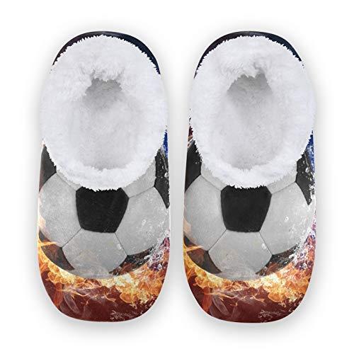 TropicalLife BGIFT - Pantuflas de fútbol para mujer y hombre, espuma viscoelástica, cálidas y suaves, con forro polar, para interiores, exteriores, dormitorio, antideslizante, para casa