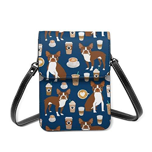 Small Shoulder Bag, Boston Terrier Coffee Red Coat Navy Crossbody Bag CellPhone Wallet Purse Lightweight Crossbody Handbags for Women Girl
