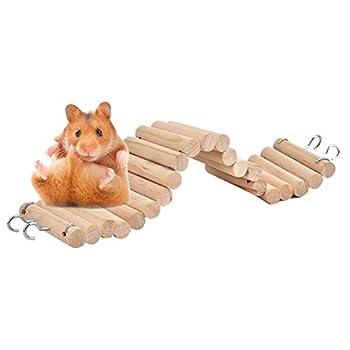 Échelle en bois pour hamster - Pont de suspension pour animal domestique - Échelle à suspendre - Échelle pour escalader les souris, gerbilles, chinchillas perroquets