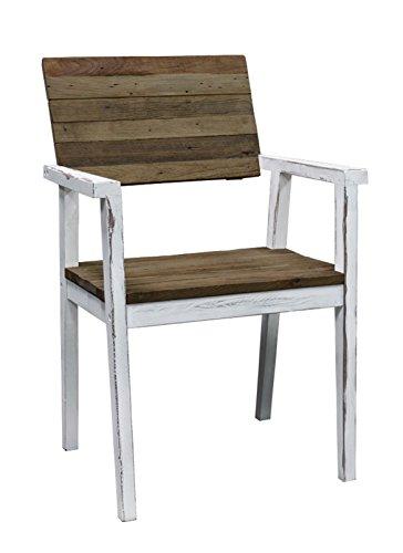Sparmeile Strandgut07 69321 Stuhl, Weiß/Braun, 58 x 61,5 x 90 cm