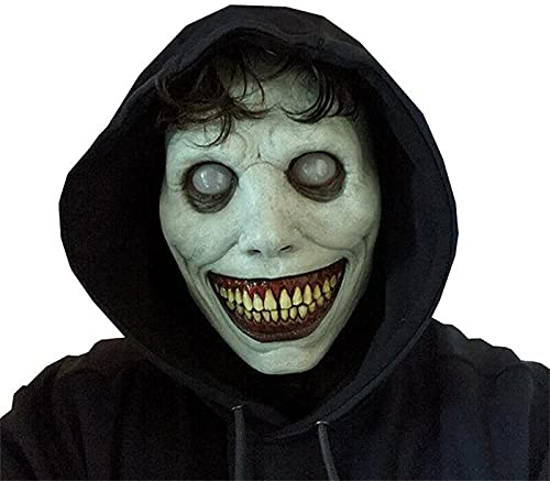 FOLENZU New Scary Halloween Mask Smile White Face Mask Exorcist Demon Mask Funny...