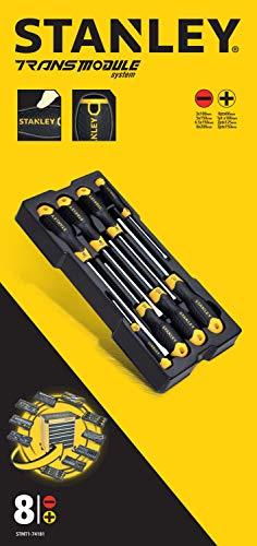 Stanley Schraubendreher Cushiongrip-Set, TransModul-System (8-teiliges Set bestehend aus 3x100 mm, 5x150 mm, 6.5x150 mm, 8x200 mm, PH0x60 mm, PH1x100 mm, PH2x125 mm, mit...