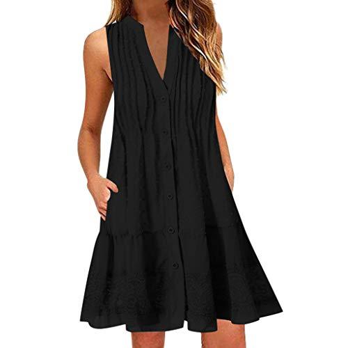 Toimothcn Women Tank Dress Sleeceless V Neck Swing Dress Solid Casual Tank Tops Vest(Black,4X-Large)