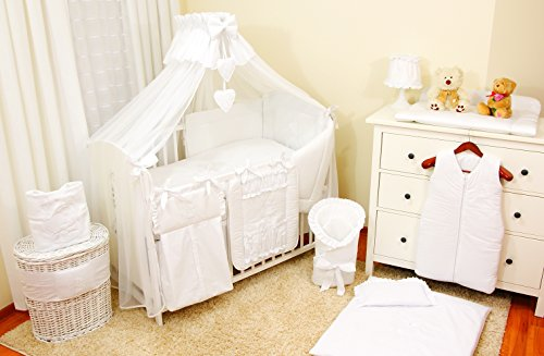 Baby-Bettwaren, Komplettset XL,10-teilig, Bettwäsche, 100% Baumwolle mit Stickerei + Moskitonetz, mit Teddy/Bär besticktes Motiv, für Mädchen oder Jungen (Weiß, 140x70cm)