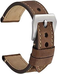 WOCCI 22mm Micro Suede Crazy Horse Correa de Reloj de Cuero con Hebilla Plateada (Marrón Oscuro)