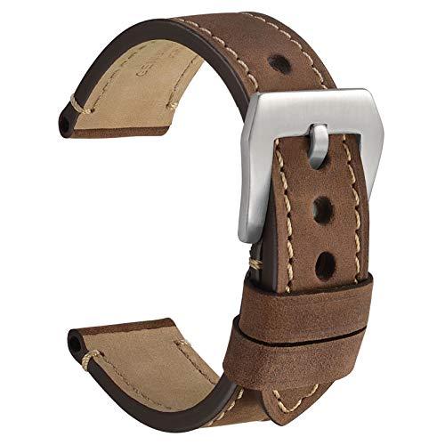 WOCCI 24mm Micro Suede Crazy Horse Correa de Reloj de Cuero con Hebilla Plateada (Marrón Oscuro)