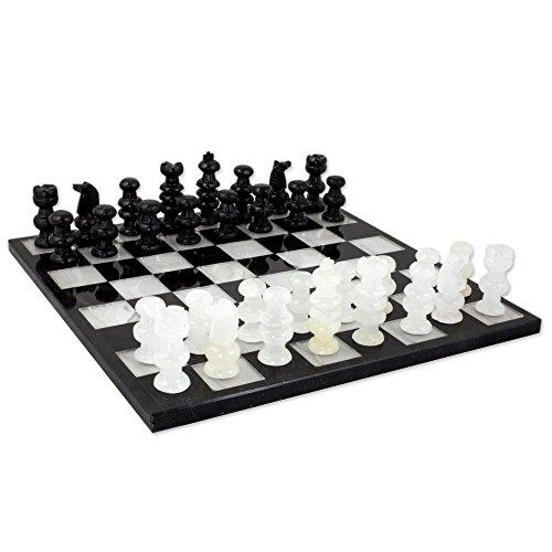 NOVICA White Onyx and Black Marble Hand Carved Stone Chess Set 'Classic' Juego de Ajedrez de ónix y mármol de Novia, Blanco, Negro, Blanco y Negro, 12'x12'Inch