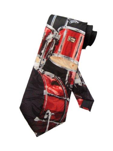 Steven Harris Mens Drum Set Drummer Band Necktie - Black - One Size Neck Tie