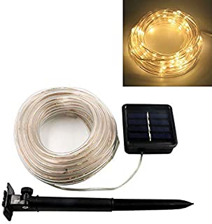 LED Solar Light and Lamp Strip with Waterproof Hose Garland Design for Xmas Party Wedding Tree Decorations Outdoor Warm Wh...
