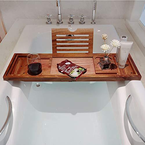 KINGEE Bamboo Bathtub Caddy Tray Bathroom Bath Tub Tray, Bath Towel Holder with Extending Sides, Wine Glass Holder, Reading Rack, Tablet Holder, Phone Tray