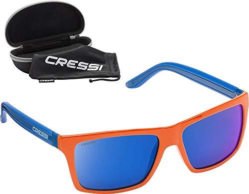 Cressi Unisex-Erwachsener Rio Sunglasses Premium Sport Sonnenbrille Polarisierte 100% UV-Schutz, Brillengestell Orange/Blau-Blau Verspiegelte Linsen, Einheitsgröße