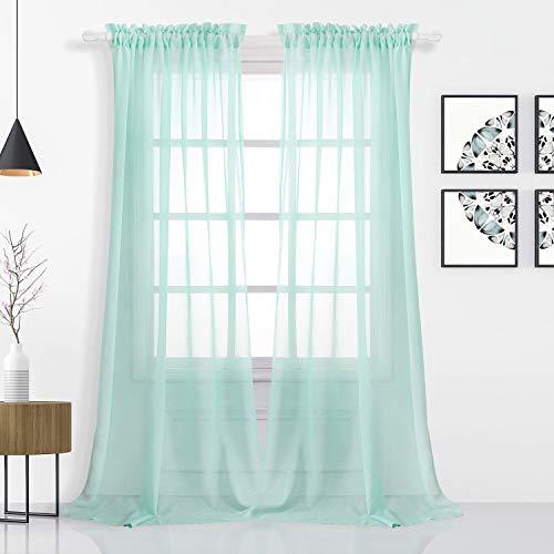 FLOWEROOM Stange Tasche Transparent Voile Gardinen Voile Vorhänge, 240 x 140 cm(H x B), 2 Stück, Aqua, 2er Set