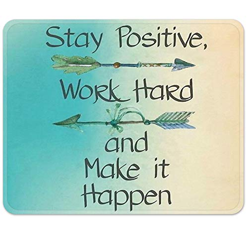 Britimes Gaming Mouse Pad, Stay Positive Work Hard and Make It Happen Arrow Print Square Mousepads Portable Non-Slip Rubber Base Office Decor Wireless Mouse Pad for Gaming, Working, Studying