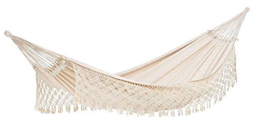 AMAZONAS XXL luxe hangmat Rio (Jacquard) handgemaakt in Brazilië 250cm x 160cm tot 200kg in wit