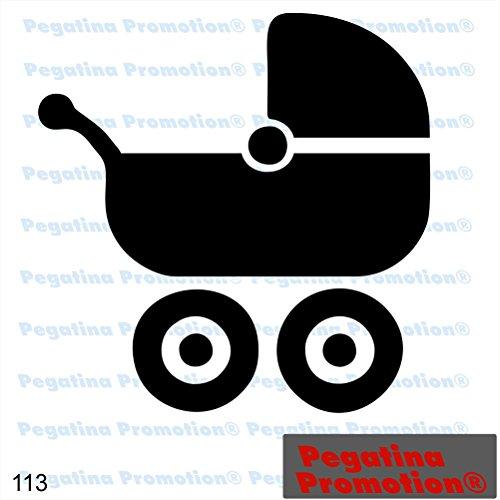 Piktogramm Typ 113 Icon Symbol Zeichen Kinderwagen Buggy Baby Aufkleber Sticker ca.15cm von Pegatina Promotion® Aufkleber mit Verklebehilfe von Pegatina Promotion® ohne Hintergrund geplottet