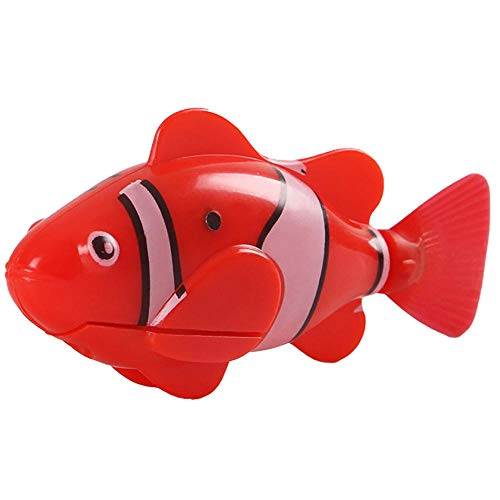 JFHGNJ kat speelgoed water geactiveerde LED zwemmen vis speelgoed met aquatische onkruid & schroevendraaier huisdier interactie benodigdheden