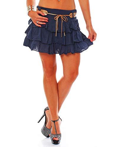 Zarmexx süsser Damen Volantrock Sommerrock Minirock mit Gürtel Baumwolle Rüschen Rock (Navy, one Size)