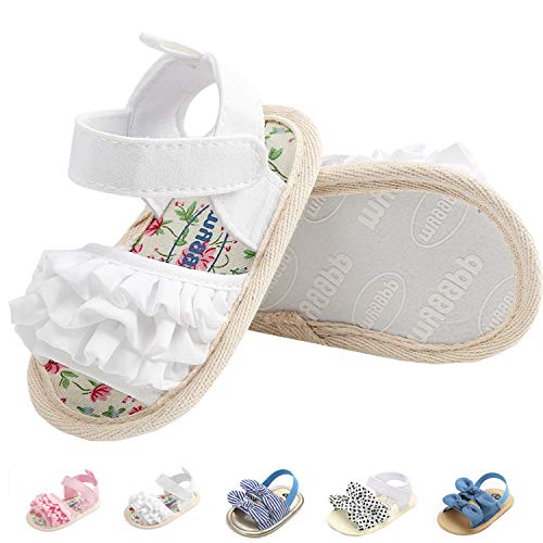 Summer Infant Baby Girls Sandals Striped Bowknot Soft Rubber Sole First Walker Shoes White