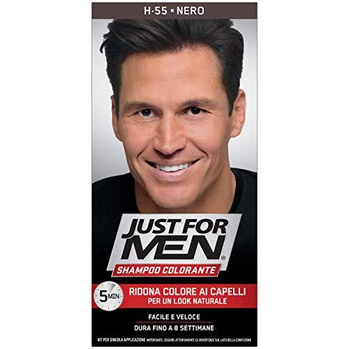 Just for Men Shampoo Colorante, H55 – Nero, Tinta Capelli Uomo, Senza Ammoniaca, Copre Capelli Grigi