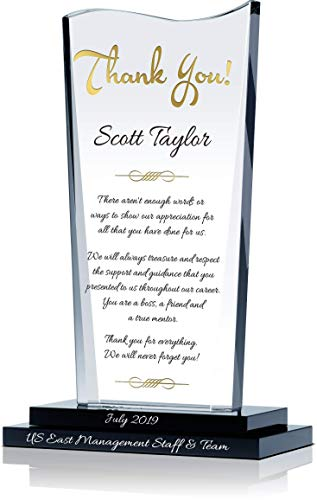"""Personalized Crystal Farewell Gift for Boss Leaving or Retiring, Customized with Boss Name and Farewell Message, Unique Going Away Gift for Boss, Manager, Supervisor and Other Leaders (M - 7.5"""")"""
