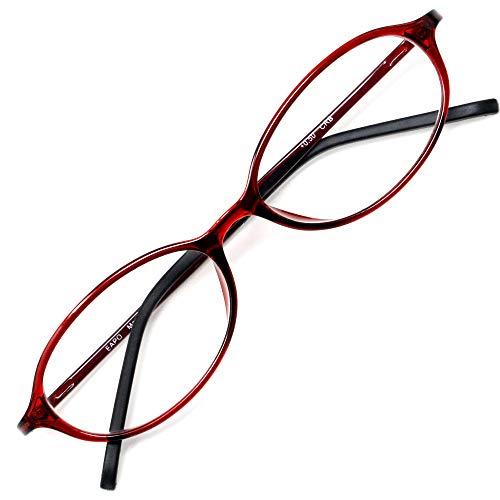 アイウェアエア 老眼鏡 おしゃれ レディース メンズ ブルーライトカット +0.5〜+3.5 4色 オーバル クランベリー +1.00