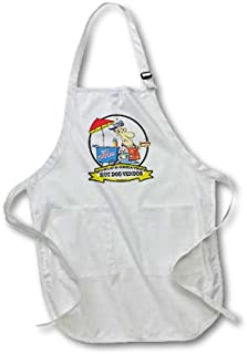 3dRose apr_103261_1 Funny Worlds Greatest Hot Dog Vendor Men Cartoon 22-Inch Width by 30-Inch Length Apron with Pockets, Full Length, White