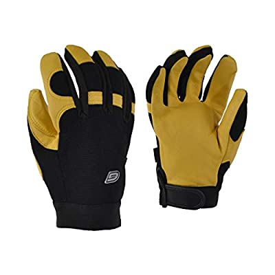 10/4 JOB, Work Glove with Deerskin Leather & Spandex, Unlined, Adjustable with an Elastic Cuff with Velcro (XX-Large, Beige)