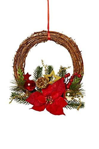 Heitmann DECO - Corona de Navidad decorativa con ramas de abeto (rojo, dorado, verde)