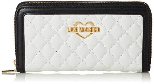 Love Moschino Portaf.quilted Nappa Pu Bia/cuo/ner, Pochettes femme, Multicolore (White-tan-black), 3x10x20 cm (B x H T)