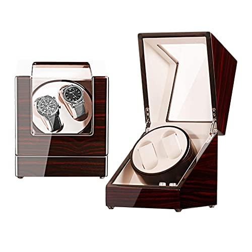 FHISD Enrollador de Reloj para Relojes Caja enrolladora de Reloj automática Doble Caja de Almacenamiento de Madera de Lujo para 2 Relojes de Pulsera, Motor japonés silencioso,