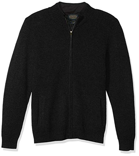 Pendleton Men's Shetland Full Zip Cardigan Sweater, Black Heather, SM
