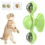 Pawaboo Windmill Cat Toy, Rotating Turntable Teasing Scratch Tickle Hair Brush Molar Massage Cat Toy, Funny Interactive Training Pet Play Ball Toy with Suction Cup Base for Cat Kitty Kitten, Green