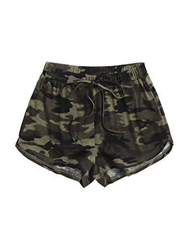 SOLY HUX Women's Tie Front Elastic Waist Workout Yoga Track Shorts Camo XL