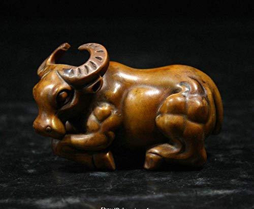 YOUZE 7CM Collect Natuurlijke Buxus Hout Handgesneden Animal vee standbeeld