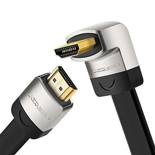 UGREEN HDMI Kabel 90 Grad High Speed HDMI flaches Kabel mit 4K 60Hz, 3D, HDR, ARC, Ethernet, 1080P, Ultra HD HDMI Kabel unterstützt für PS4, PS3, Blu-Ray Player, AV Receiver, Beamer, Soundbar usw (3m)