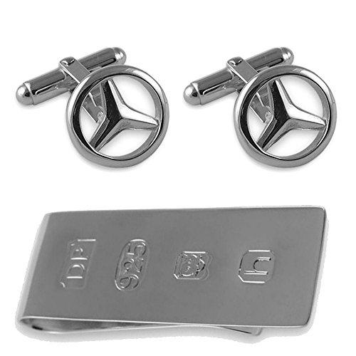 Select Gifts Sterling Silver Mercedes gemelli James Bond denaro Clip Box Set