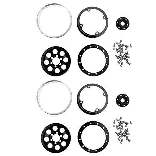 Rueda de Coche RC de Cubo de Rueda RC de tamaño Compacto de Estilo (Black Wheels + Silver Outer Ring C)