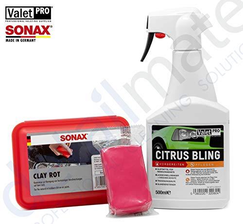 detailmate Set Reinigungsknete: Sonax Clay rot 200g - Reinigungsknetmasse scharf + Valet Pro Citrus Bling 0,5L Sprühflasche, Gleitmittel, Quick Detailer