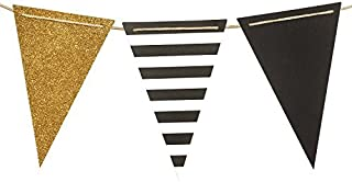 Ling's moment Paper Bunting Triangle Flags Banner Vintage Pennant Banner for Wedding, Bachelorette Party, New Year Party, Birthday, Graduation, Baby Shower, 15pcs Flags(Gold+Black+French Stripe)