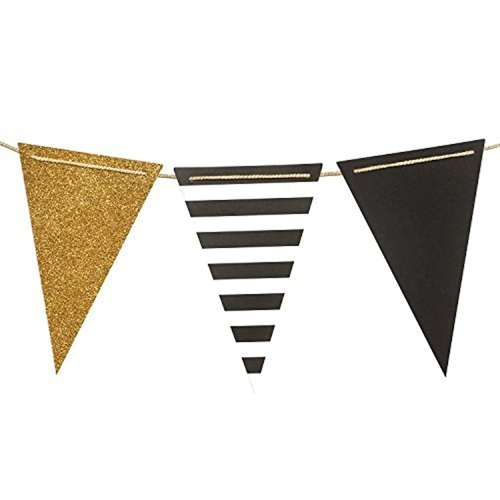 Ling's moment Paper Bunting Triangle Flags Banner Vintage Pennant Banner for Wedding, Bachelorette Party, New Year Party, Birthday, Graduation, 15pcs Flags(Gold+Black+French Stripe)