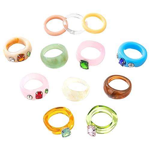 VOUNEDA - Anello vintage in acrilico grosso in resina colorata, anello vintage in acrilico grosso, 12 anelli in resina irregolari vintage in acrilico per donne e ragazze
