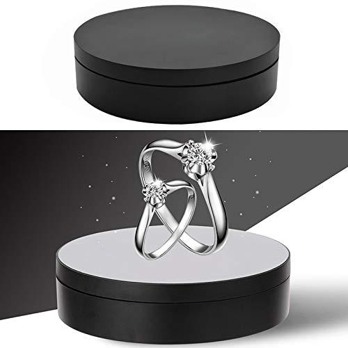 JSANSUI Fotografie Hintergrund Kit 13.8cm USB-Lade Smart-360-Grad-drehende Drehscheibe-Ausstellungsstand Video Shooting Props Plattenspieler, for Fotografie, Last 3kg (Color : Black)